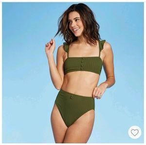Button Ruffle Bandeau Ribbed Green Target Bikini